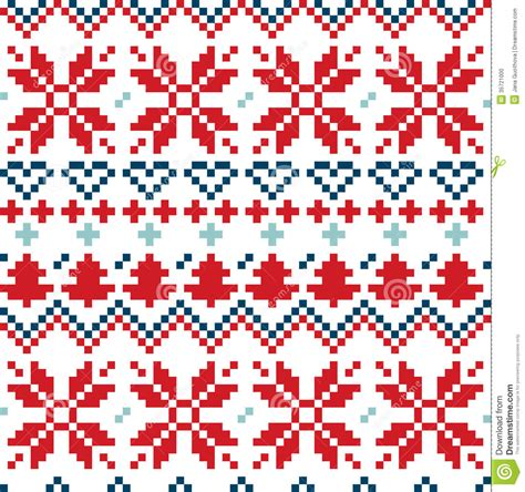 blue nordic pattern christmas nordic seamless pattern blue and red stock