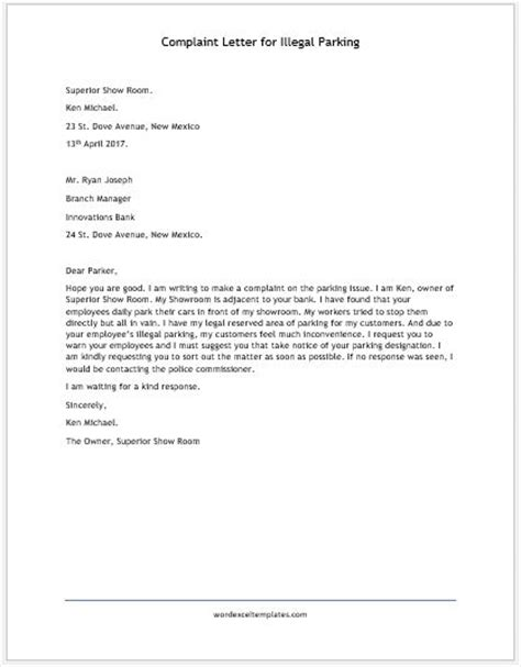 Complaint Letter About Exle Complaint Letter For Illegal Parking Word Excel Templates