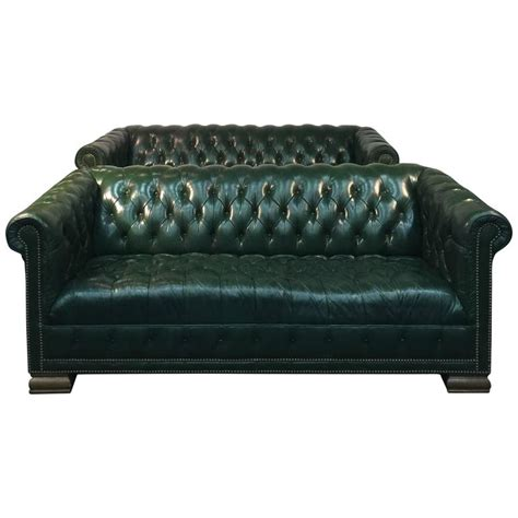 hunter green leather sofa rare pair of vintage chesterfield sofas in hunter green