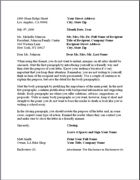 Business Letter Using Block Format business formal letter template