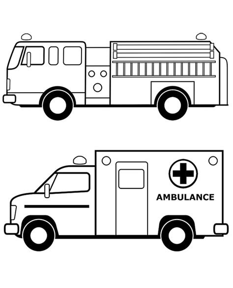 rescue truck coloring page fire truck and ambulance coloring pages books to print