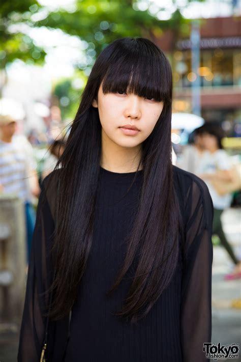 japanese fashion model s all black minimalist fashion hair in harajuku
