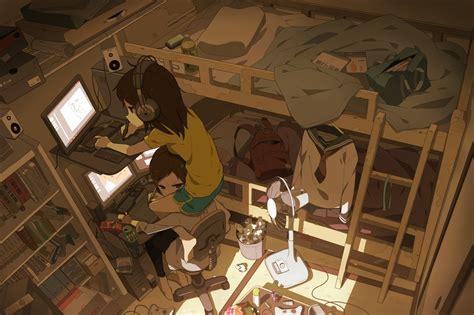 and relaxing otaku room 1400x933 animewallpaper
