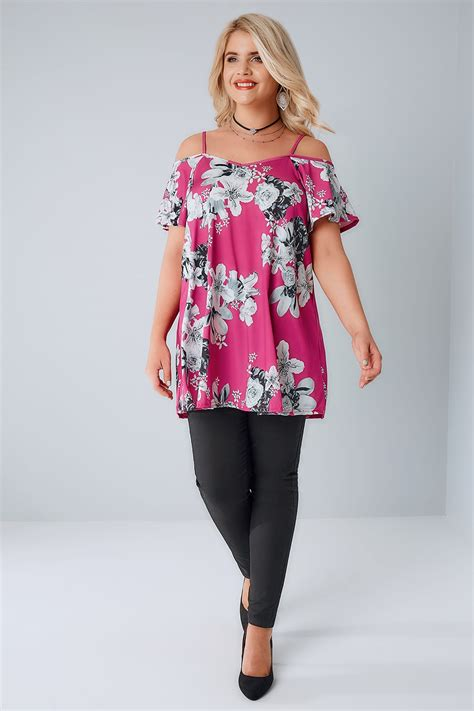Sandal Wedges Cb01 pink grey floral cold shoulder jersey cami top plus size
