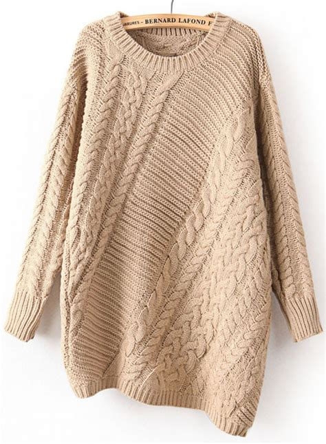 knit sweater khaki sleeve asymmetrical cable knit sweater abaday