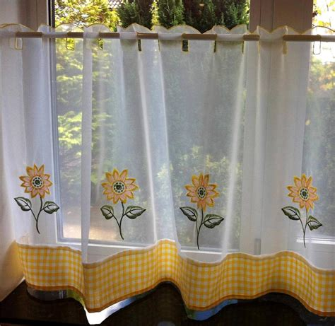 Yellow And White Curtains Sunflower Yellow White Voile Cafe Net Curtain Panel Kitchen Curtains Ebay