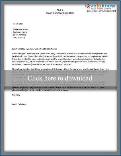 personal character reference letter exles of a character reference letter lovetoknow