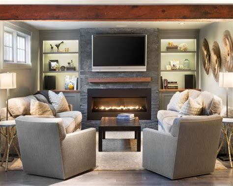 placing pictures above sofa furniture arrangement around fireplace houzz