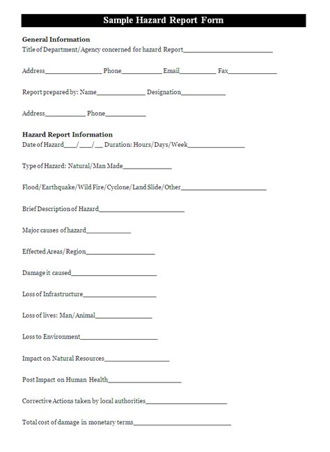 incident hazard report form template a hazard report form is generally fill to report the