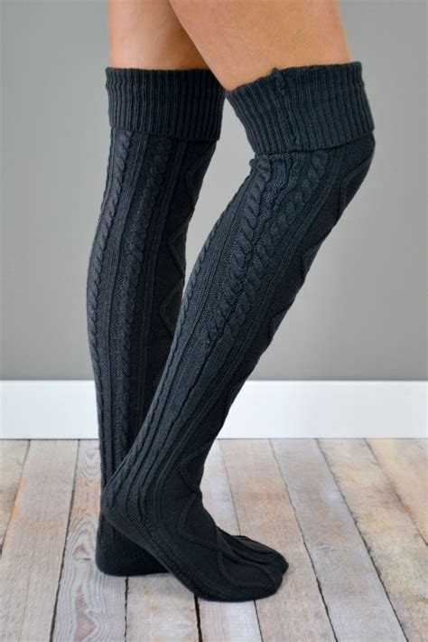 cable knit boot socks charcoal thick cable knit boot socks bootcuffsocks