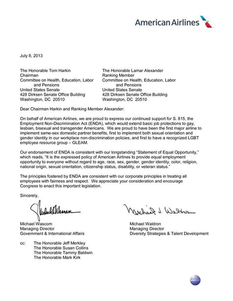 Official Letter American American Airlines Supports Passage Of Enda Metro Weekly