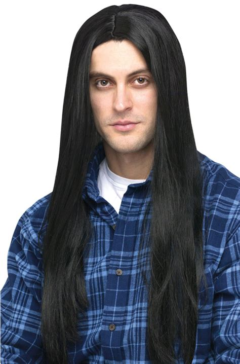 ai rocker with hair on his head brand new 1980s long hair men s rocker head banger costume