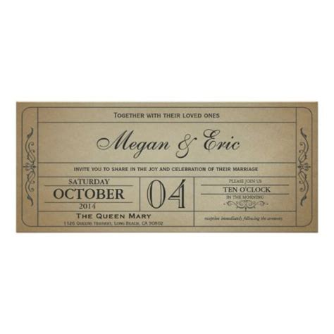 ticket invitation ticket and vintage weddings on pinterest