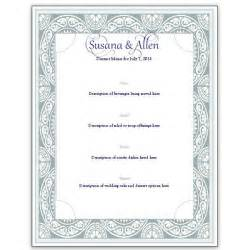 dinner menu card template a free wedding menu card template diy and save