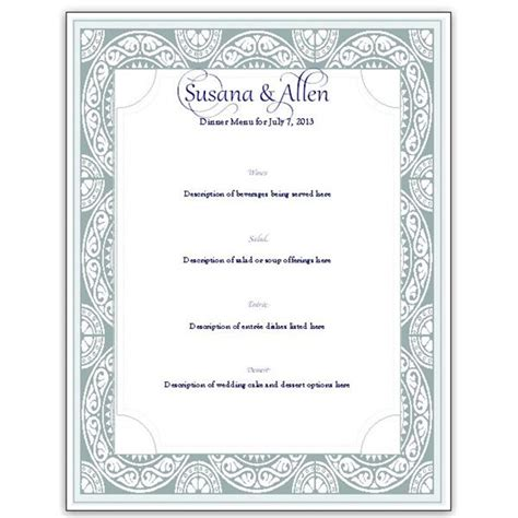 Menu Card Template by A Free Wedding Menu Card Template Diy And Save