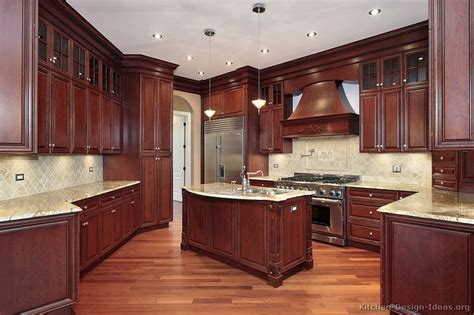 traditional wood cherry kitchen cabinets style