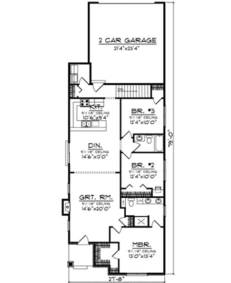 Narrow Cottage House Plans by Narrow Lot Home 89772ah 1st Floor Master Suite Cad