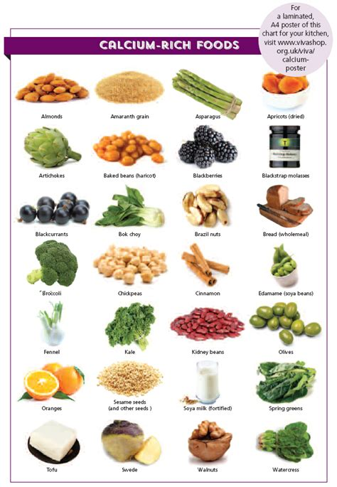 alimenti contenente potassio calcium rich food chart viva