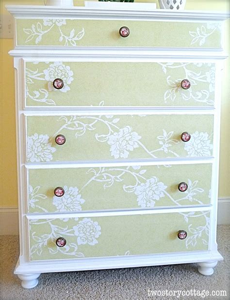 Decoupage Using Wallpaper - wallpaper dresser tutorial complete with don ts