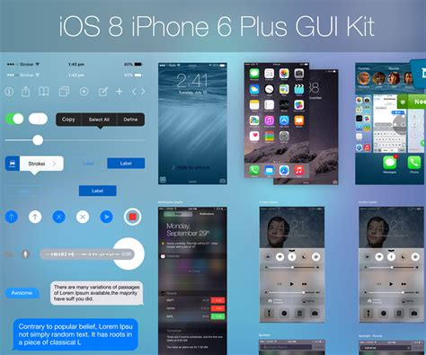 iphone ios 8 layout iphone 6 compatible ios 8 ui kit design