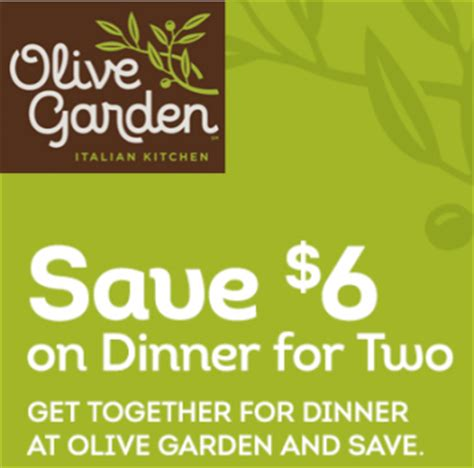 olive garden coupons to scan olive garden get 6 off dinner for two