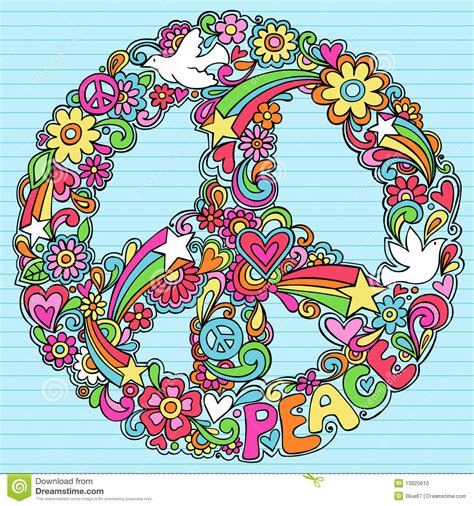 doodle peace sign psychedelic peace sign notebook doodles vector stock photo