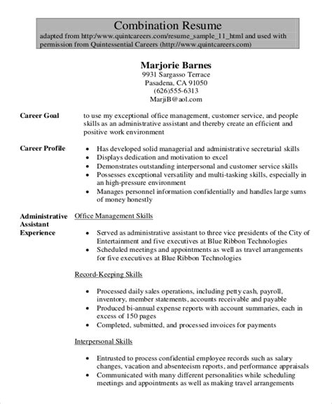 Functional Resume Template For Administrative Assistant 6 Administrative Assistant Resume Templates Free