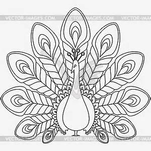 Free Clip Art Black And White Peacock Related Images sketch template