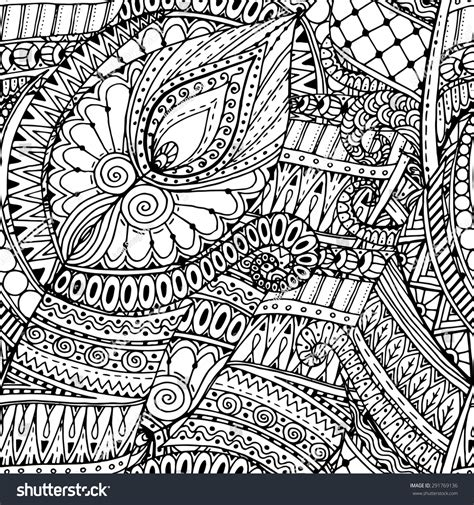 doodle tribal seamless asian ethnic floral retro doodle stock vector