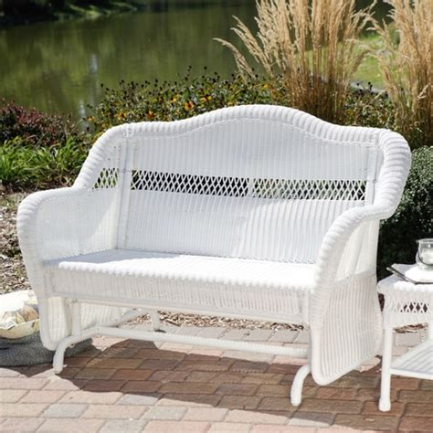 white outdoor glider bench white resin wicker outdoor 2 seat loveseat glider bench