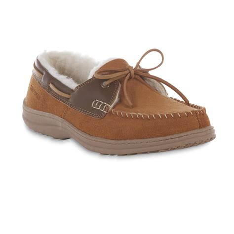 sears mens house slippers craftsman men s anthony suede leather moccasin slipper tan