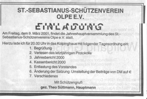Muster Einladung Hauptversammlung einladung 2001 jahreshauptversammlung sch 252 tzenverein olpe
