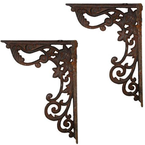 wrought iron supports rusted quot cast iron decorative shelf