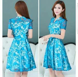 Sale Dress Biru Twiscon Mix Brukat model baju mini dress brukat pendek wanita cantik terbaru desain pesta ala korea