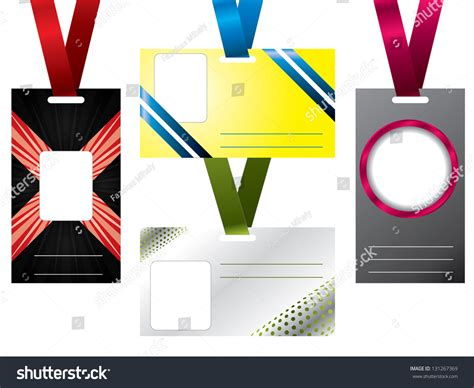design name tag keren name tag design set four lanyards stock illustration