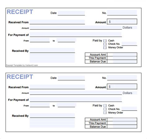 templates receipt form 7 general receipt templates free sles exles