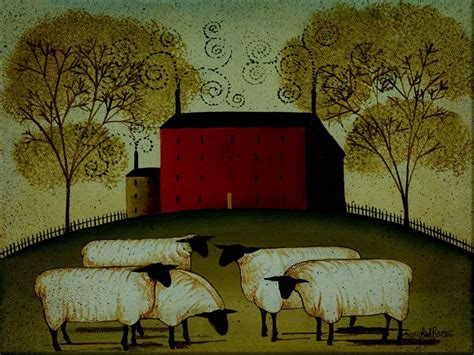 house prints red house with sheep country folk art unframed 12x16 print