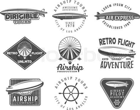 Kaos Racer Tees Tipe 1 vintage airship logo designs set retro dirigible badges