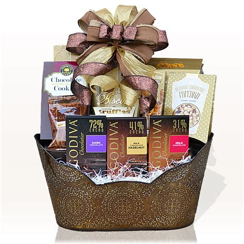 Baskets For Gifts - godiva chocolate indulgence gift basket gifts