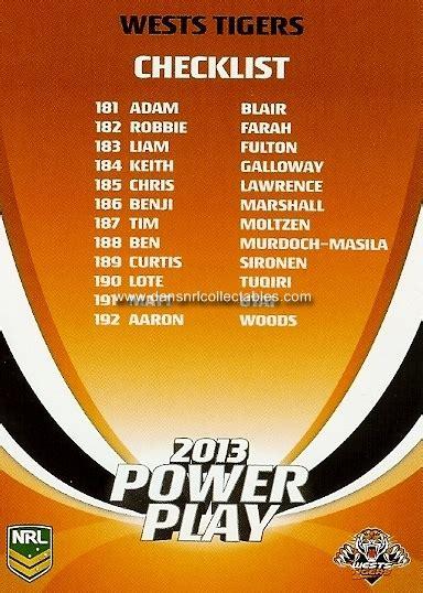 Card Power Plays 2013 esp nrl power play card no 200 checklist new