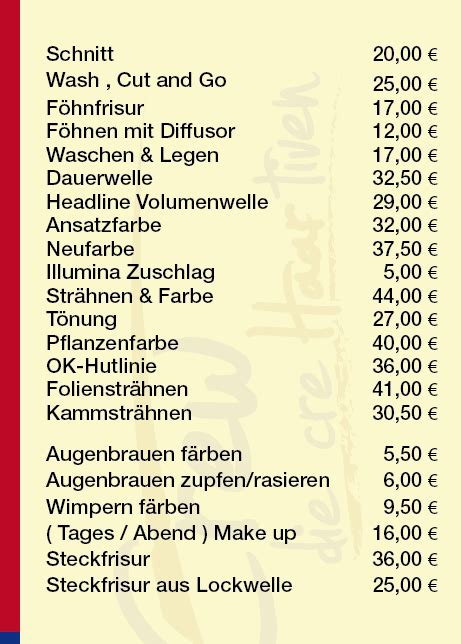 Friseur Preise by Preise