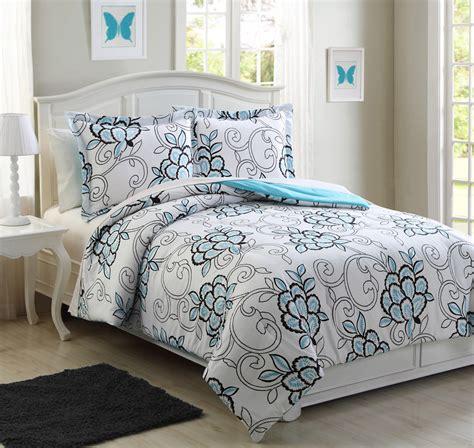 microfiber kids hannah aqua reversible comforter set