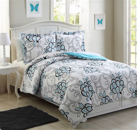 hannah comforter set microfiber kids hannah aqua reversible comforter set