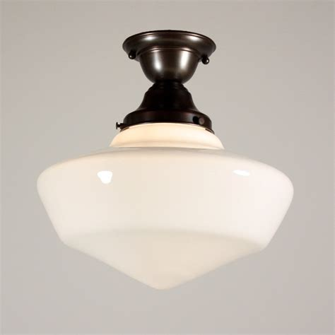 Vintage Schoolhouse Light Fixtures Two Matching Antique Flush Mount Schoolhouse Lights With Glass Globes One Available