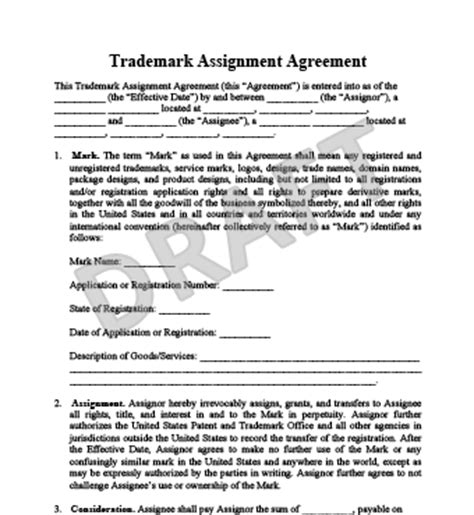 Contract Letter Of Assignment Create A Trademark Assignment Agreement Templates