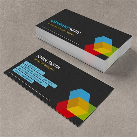 cube business card template colorful 3d cube logo creative modern business card