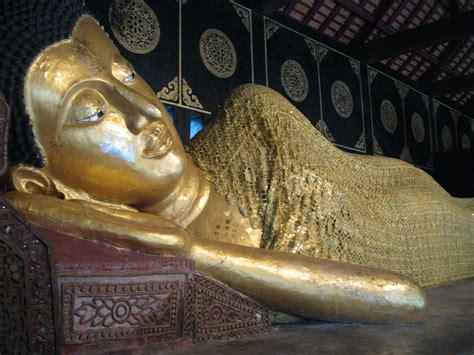 Buddha Reclining by Wat Chedi Luang Buddhist Temple Chiang Mai