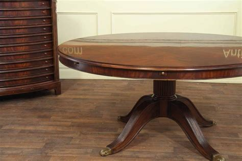 Extra Large Round Mahogany Perimeter Table And Buffet Dining Table Seats 6