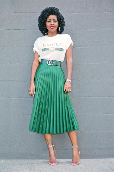 logo print t shirt pleated midi skirt cool