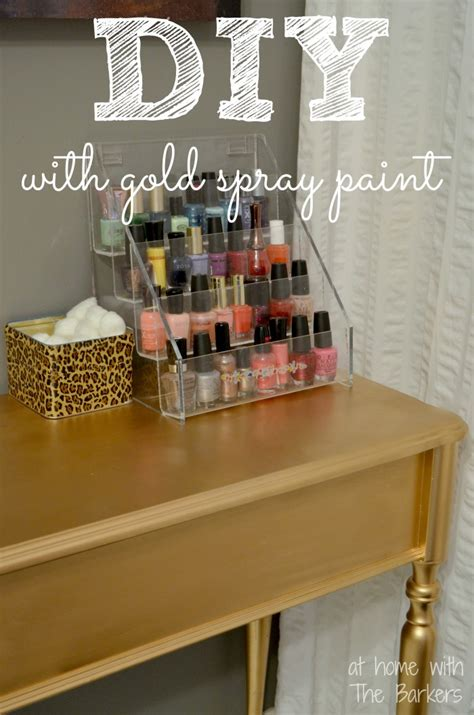 spray paint jewelry diy diy gold painted table